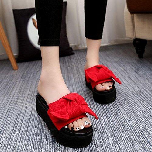 LvYuan Pantofole estive delle donne / Comfort Casual Fashion / tacco tallone / fondo spessa / piattaforma impermeabile / tacco alto / Bowknot / sandali / beach shoes Red