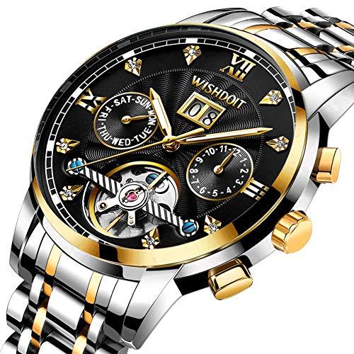 Herren Uhren Mechanische Automatik Männer wasserdichte Kalender Edelstahl Armbanduhren mit Mode Elegante Business Kleid Gold Schwarz