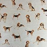Classic Tiere Hunde, Design Baumwolle Rich Leinen Look Stoff für Vorhänge Jalousien Craft Quilting Patchwork & Upholstery 139,7cm 140cm breit, Meterware,