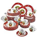VEWEET, Serie SANTACLAUS, servizio da tavola in porcellana, 60 pezzi, servizio da tavola completo per 12 persone, 12 tazzine da caffè, 12 piattini, 12 piatti da dessert, 12 piatti piatti e 12 piatti da zuppa, stoviglie di Natale