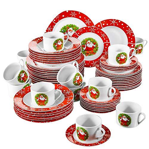flirt geschirr weihnachten VEWEET, Serie SANTACLAUS, Porzellan Geschirrset, 60 TLG. Tafelservice für 12 Personen, Geschenk für Weihnachten