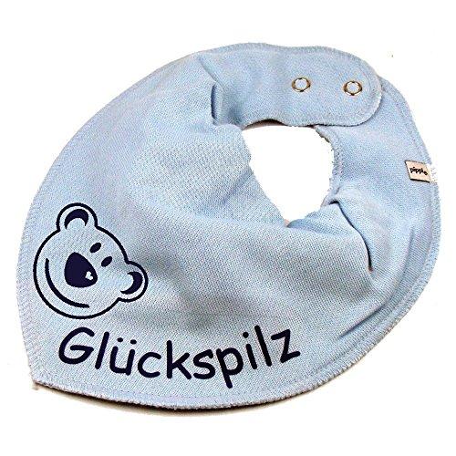 HALSTUCH BÄR mit Namen oder Text personalisiert hellblau für Baby oder Kind