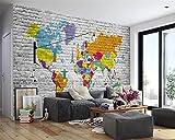 BZDHWWH Benutzerdefinierte 3D Tapete Retro Mediterrane Weltkarte Handgemalte Kulisse Wohnzimmer Sofa Wand 3D Wallpaper Wandbild,200cm (H) x 300cm (W)