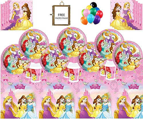 (Disney Prinzessinnen Party Supplies Kinder Mädchen komplette Geburtstag Party Geschirr Set 16 Gäste Papier Geschirr Tischdecke Free Photo Frame & Balloons)