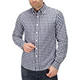 Charles Wilson Long Sleeve Classic Gingham Checked Casual Shirt (Large, Deep Navy)