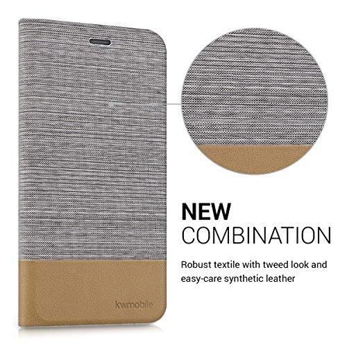 kwmobile Housse flip case pour Apple iPhone 6 Plus / 6S Plus pochette cover bookstyle en simili-cuir et textile en anthracite marron .gris clair marron