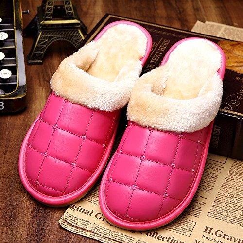DogHaccd pantofole,Il cotone pantofole uomini e donne impermeabile coppie invernale con trattamento di mezza pensione con dense e calde home soggiorno con lussuosi interni pelle pu pantofole Il rosso4