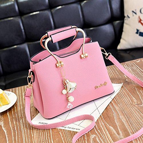LiZhen pelle Pu caso pacchetto new trendy tote bag hanging minimalista spalla selvatici un algebra lineare, Pink Lady Borsa Rosa
