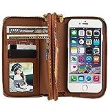 """HARRMS Apple iPhone 6/6S 4,7"""" Leder Hülle Flip Case Handytasche und Brieftasche mit Standfunktion Kredit Karten Fach mit Unsichtbarem Magnet, Braun"""