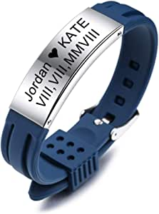 MeMeDIY Bracciale Personalizzato con Nome Incisione Personalizzata per Uomo Donna Ragazzi Ragazze Gomma Silicone Sport Polsino Identificazione ID Tag in Acciaio Inossidabile