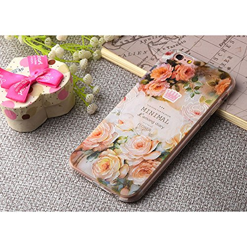 Apple Cover in Silicone TPU Case Cover TPU Gel Silicone Copertura Tacsa Custodia Caso Cover per iPhone 7 plus ( 5.5)orso Retro peonia