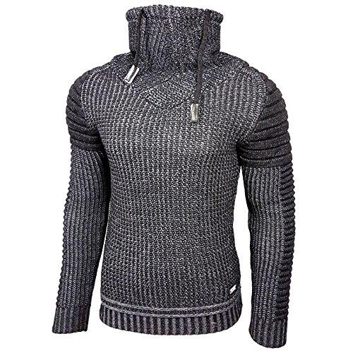 Rusty Neal Herren Grobstrick Strickpullover Pullover Sweatshirt Jacke RN-13284 13293 Schwarz