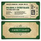 Einladungskarten zum Geburtstag (50 Stück) im Vintage Ticket Look Grün Einladung Retro 70er