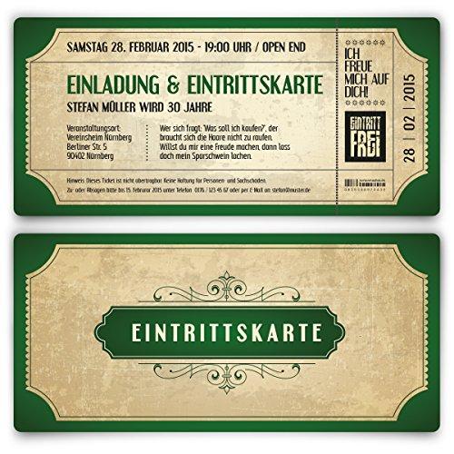 Einladungskarten zum Geburtstag (30 Stück) im Vintage Ticket Look Grün Einladung Retro 70er