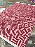 Second Nature Fair Trade Weiche Baumwolle Diamant Rot Weiß Natur Teppich 120cm x 180cm