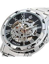 21b583a872c GuTe Steampunk de color negro y el esqueleto de los hombres de la mecánica  de la mano de viento en reloj de…