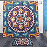 ISAOA Runde abstrakte Mandala-Rutschfeste Badezimmermatte für den Innenbereich, 60 x 40 cm, wasserdicht, 183 x 183 cm, waschbarer Duschvorhang mit 12 Haken