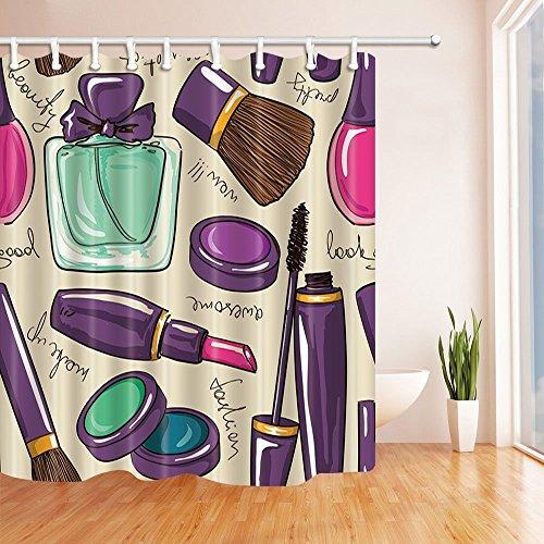 Rrfwq Make-up Decor Lippenstift und Parfüm Polyester-Duschvorhänge-Wasserdicht Bad Vorhang 180x 180cm Duschvorhang Haken im Lieferumfang enthalten