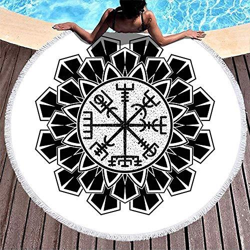 Leo-Shop Viking Vegv & iacute; Sir Heilige Geometrie Skandinavische TätowierungRunde StrandtuchBeliebt RundStrand Werfen Kreis Picknickdecke