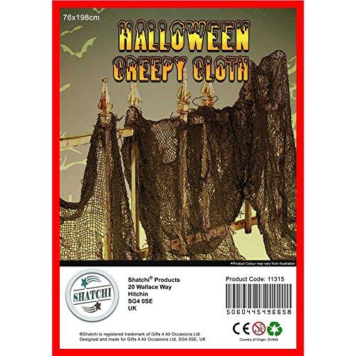 Gifts 4 All Occasions Limited SHATCHI-645 - Juego de 50 paños de malla para decoración de fiesta de Halloween (76 x 228 cm), color negro