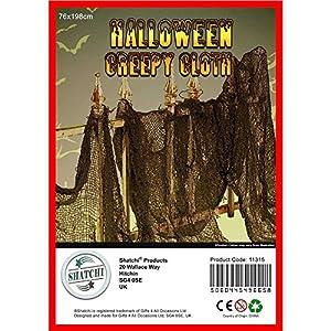 Gifts 4 All Occasions Limited SHATCHI-674 - Juego de 5 paños de malla para decoración de fiestas de Halloween (76 x 228 cm), color negro