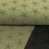 Stoffe Werning Frottee Stretch Sterne grün schwarz