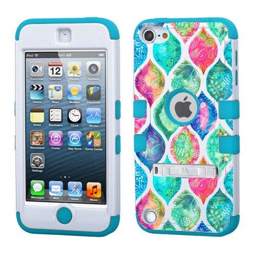 iPod Touch 5. 6. Generation Weiß Kunststoff/Blau Silikon 3-Stil Hybrid Hard Schutzhülle für Apple- für Mädchen und Boys-Shockproof Staubfrei, mit Ständer, Paisley Pattern