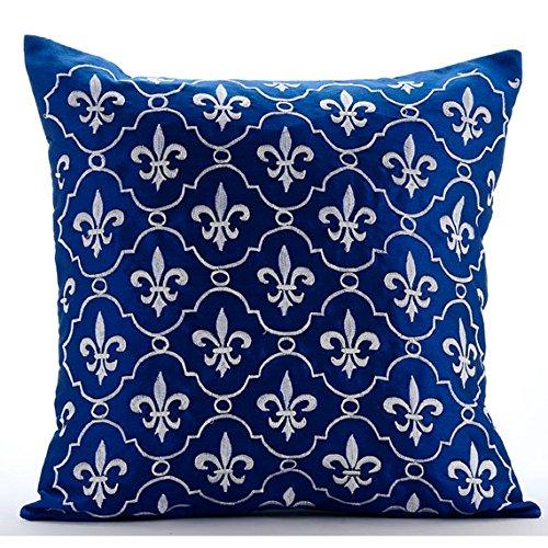 Luxus Königsblau Kissenbezüge, Barock- Kissen Decken, 45X45 Cm Kissenbezug, Platz Seide Kissenbezüge, Geometrisch - French Vanilla (Seide-bett-abdeckung)