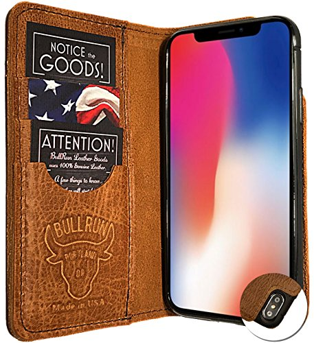 Leder iPhone Fall Wallet, iPhone X, Brown X
