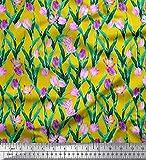 Soimoi Gelb Samt Stoff Blätter & Tulpe Blumen- Stoff