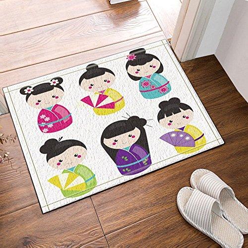 gohebe traditionellen japanischen Puppen Kokeshi Bad Teppiche rutschhemmend Boden Eingänge Outdoor Innen vorne Fußmatte 39,9x59,9cm Badvorleger Badematte Bad Teppiche