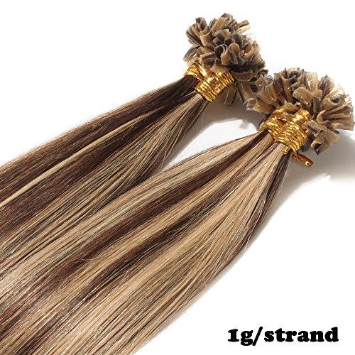 Extension capelli veri cheratina con meches 1 grammo per ciocca 50g/pack u tip remy umani naturali lisci (50cm #4/27 cioccolato/biondo scuro)