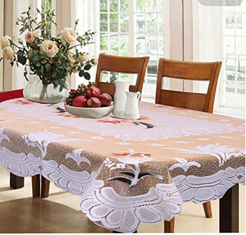 Kuber Industries™ Dining Table Cover Cream Cloth Net For 6 Seater 60*90 Inches (Exclusive Floral Design)