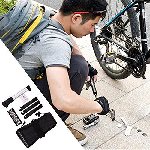 VDK Kits de réparation de pneu de vélo multifonction outils kit d'outils de sac de feu arrière pour vélo Route VTT fixie équipement Noir