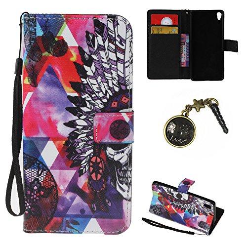 Preisvergleich Produktbild PU Xperia XA Hülle case vintage ledertasche, Handy Schutzhülle für (Sony Xperia XA (5 Zoll (12,7 cm) Hülle Leder Wallet Tasche Flip Brieftasche Etui Schale (+Staubstecker) (9)