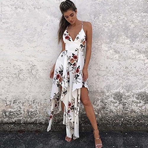 Bekleidung Longra Damen Ärmellos Camisole Sommerkleid Urlaub Backless Damen Blumenmuster Strand Print Kleid White