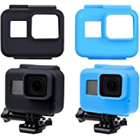 CamKix etuis en Silicone Compatible avec Le Cadre de Votre Gopro Hero 7/6 / 5 Black - 2 étuis de Protection - Noir/Bleu…