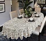 Grande nappe de table ovale ou ronde avec motif dentelle Blanc ou beige, blanc, 63' (160cm) Round