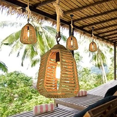 YZYZoo Pays D'Amérique Corde Simple Petit Lustre Hall Hill Farm Cafe Pirate Restaurant Rétro Lustre,Plat Petit Lustre ? 25 Cm + Ampoule Edison