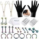 42pcs Piercing Kits for All Piercings,Include Ear Piercing Studs Earrings,Lip Rings Piercing Jewelry,Eyebrow Piercing Jewelry