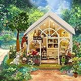 Puppenhaus Bausatz- Mein Blumenladen - Mit LED-Leuchten,DIY Spielzeug Traumhaus,Miniatur Puppenhaus Kits,221917.5cm