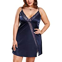 Bunanphy Womens Plus Size Lingerie Sexy Nightwear Lace Trim Negligee Lounge Wear Strap Sleepwear Nightgown Nightie 14-32