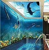 Tantoto 3D Wallpaper Grandi Seamless Interi Fogli Di Carta Da Parati Tema In Tutto L'Hotel Alloggiamento Soffitto Personalizzato Sfondo Superiore Il Nuoto Subacqueo Del Mondo.