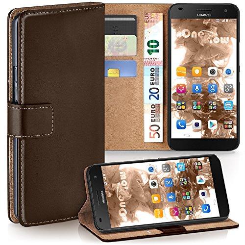 OneFlow Tasche für Huawei Ascend G7 Hülle Cover mit Kartenfächern | Flip Case Etui Handyhülle zum Aufklappen | Handytasche Schutzhülle Zubehör Handy Schutz Bumper in Dunkelbraun