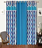 #10: Impeccable Home Designer Striped 3 Piece Eyelet Polyester Door Curtain Set - 7ft, Aqua Blue
