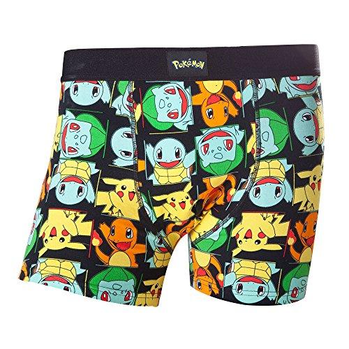 Meroncourt - Boxer corti da uomo, motivo: Pikachu e i suoi amici, misura S, colore: nero