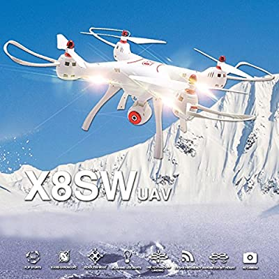 Hanbaili X8SW Drone with 720P Wifi Camera Real Time Transmission,4G TF Card 3D Flips Cool Light and 2000 mAh Batteries for Long NIght Flight