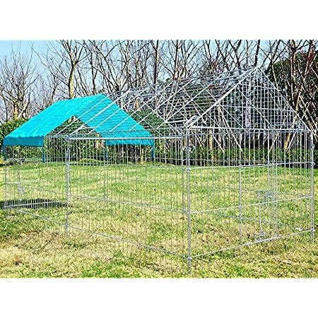 EUGAD Hasengehege Freigehege Kaninchenstall Freilauf Gehege Kleintiergehege mit Ausbruchsperre Sonnenschutz e754