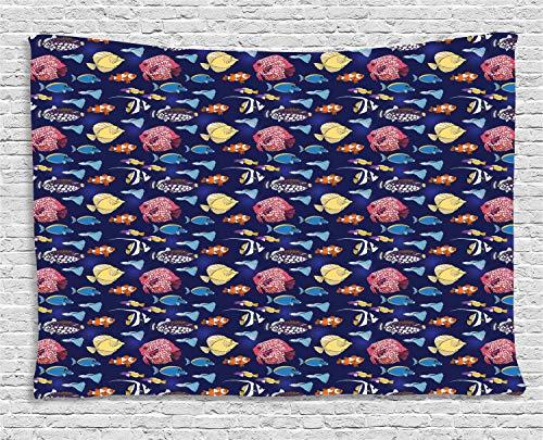 ABAKUHAUS Fisch Wandteppich, Exotische Tiere Aquarium, Wohnzimmer Schlafzimmer Heim Seidiges Satin Wandteppich, 150 x 100 cm, Mehrfarbig