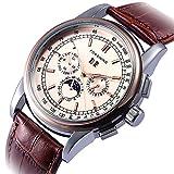 GuTe Montre-bracelet de luxe pour homme à phase de lune Rose dorée mécanique automatique simili cuir marron